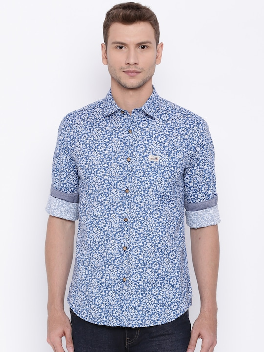 U.S. Polo Assn. Men Blue Printed Casual Shirt