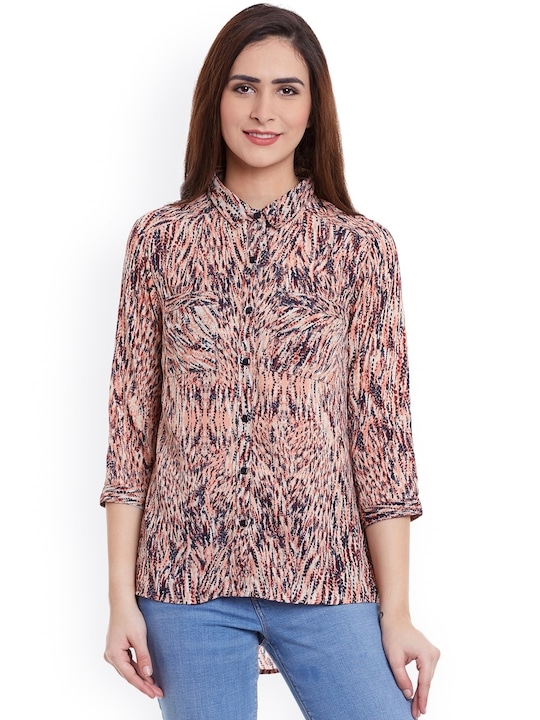 Ruhaans Women Multicoloured Comfort Fit Printed Casual Shirt