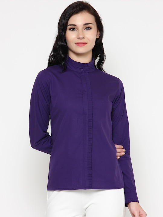 Calgari Women Purple Tailored Fit Solid Casual Shirt