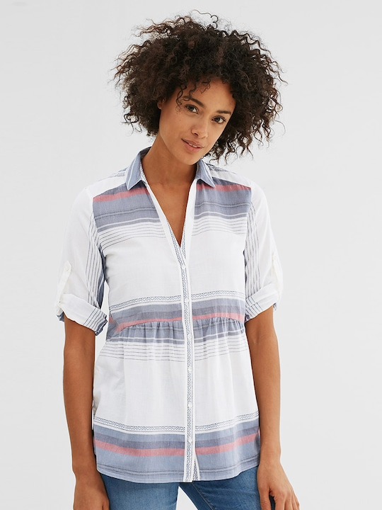 ESPRIT Women White & Blue Striped Casual Shirt