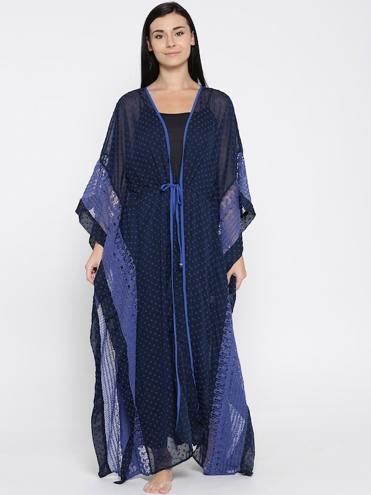 The Kaftan Company Blue Sheer Patterned Kaftan Maxi Nightdress LW_LACEME013