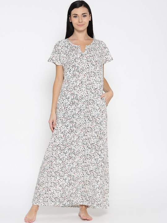 The Kaftan Company Off-White Floral Print Maxi Nightdress NT_ELIZA023