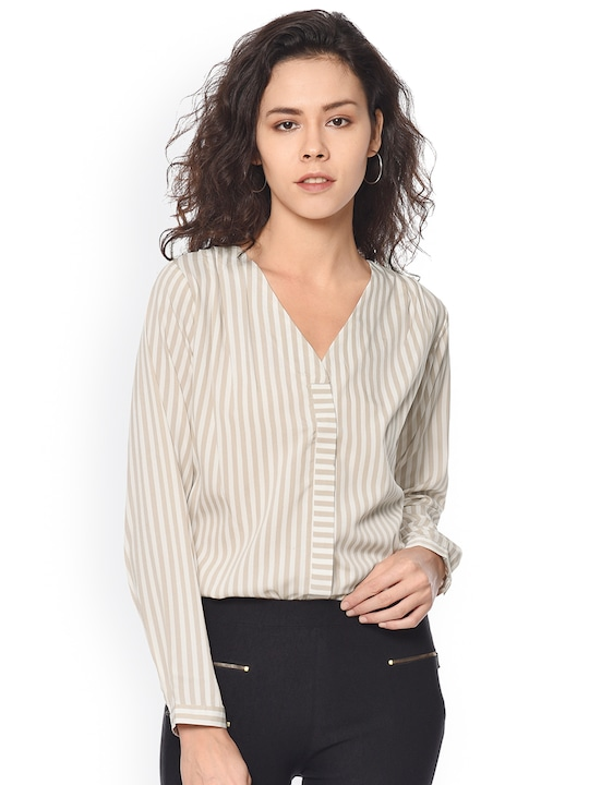 PURYS Women White Striped Casual Shirt