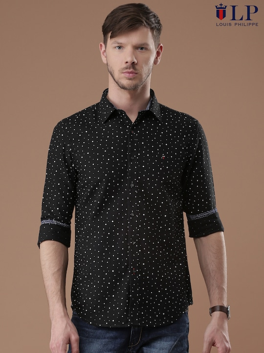 Louis Philippe Sport Men Black Union Slim Fit Printed Casual Shirt