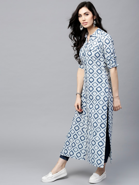Women Navy & Off-White Printed Straight Kurta thumbnail