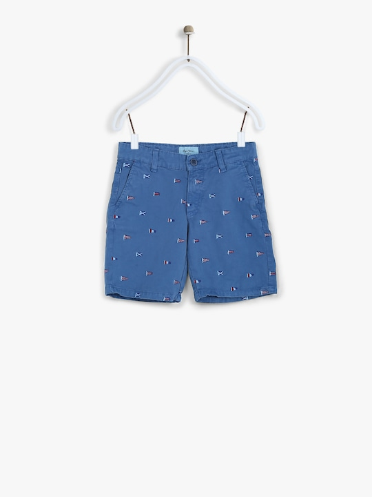 Aqua Blue Embroidered Short