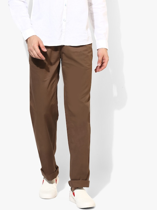 Brown Solid Chinos