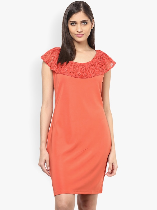 Orange Coloured Solid Asymmetric Dress