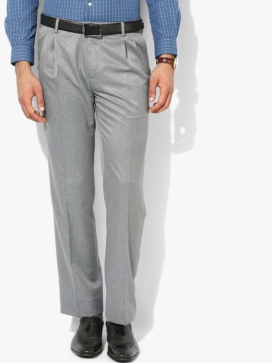 Grey Solid Regular Formal Trouser