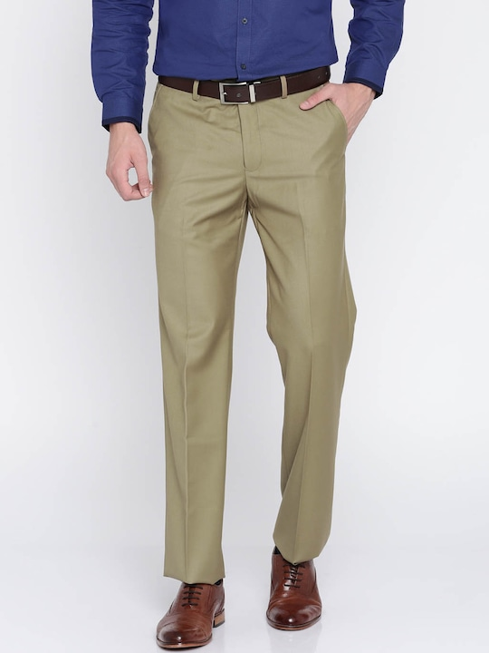Khaki Solid Regular Fit Formal Trouser