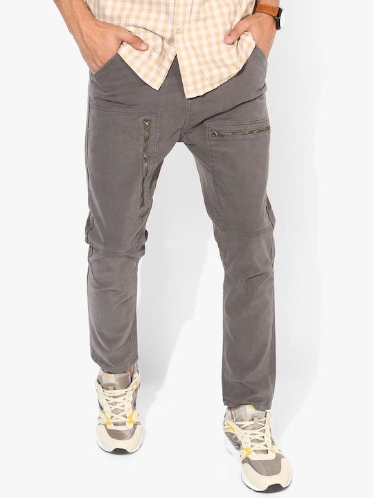 Light Grey Solid Slim Fit Chinos
