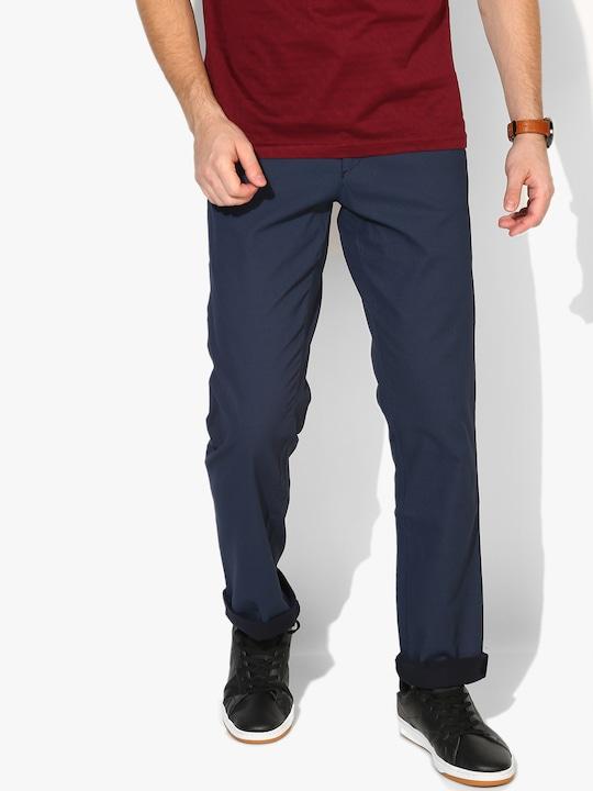 Blue Printed Slim Fit Chinos