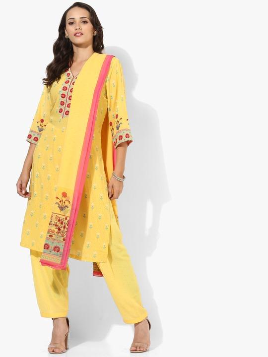 Yellow Printed Cotton Dupatta