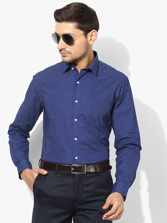 Navy Blue Printed Formal Shirt