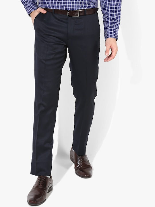 Navy Blue Solid Slim Fit Formal Trouser