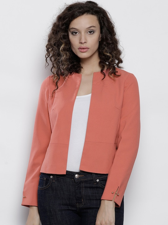 Peach Solid Blazer