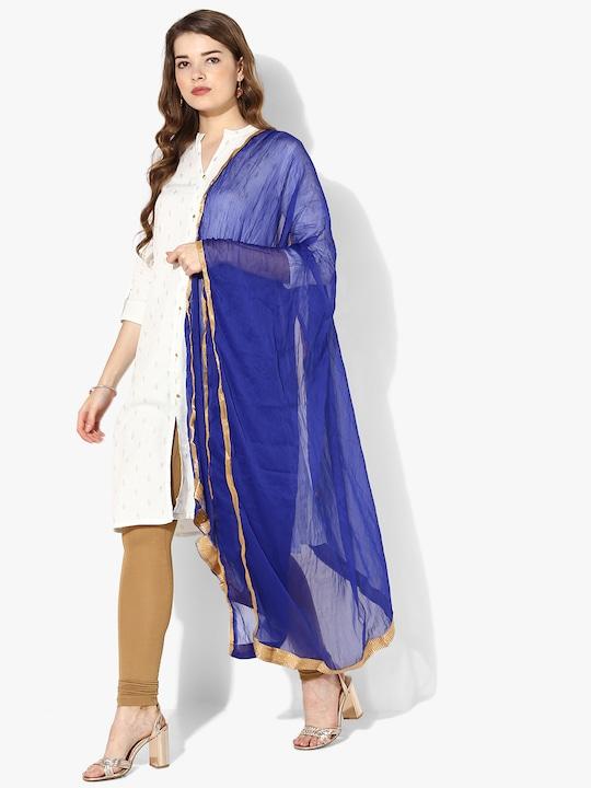 Aqua Blue Solid Cotton Dupatta