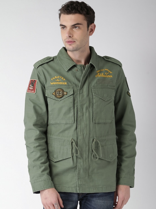 Khaki Printed Winter Jacket