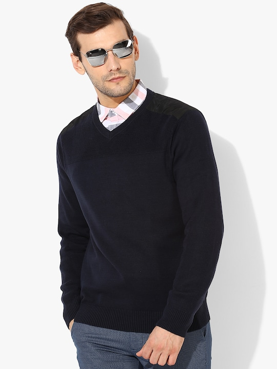 Navy Blue Solid V Neck Sweater