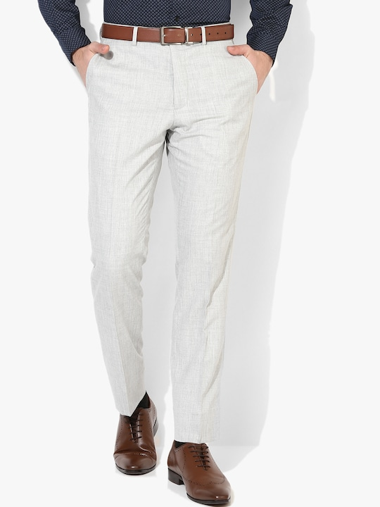 Grey Solid Regular Fit Formal Trouser