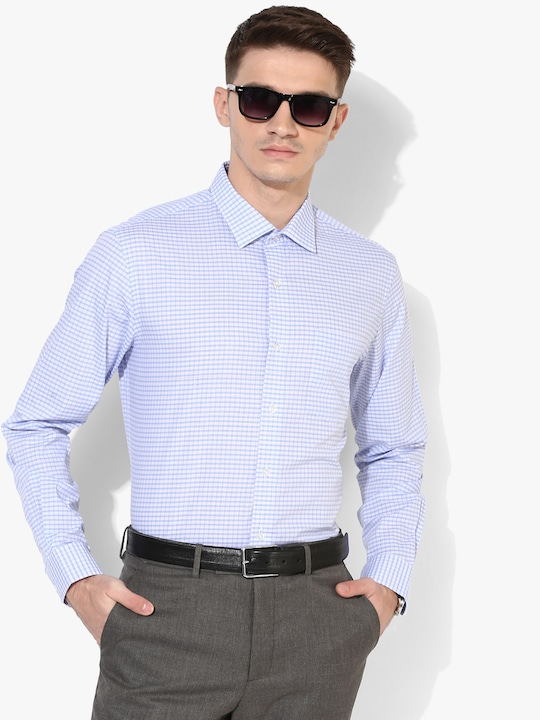 Blue Checked Regular Fit Formal Shirt