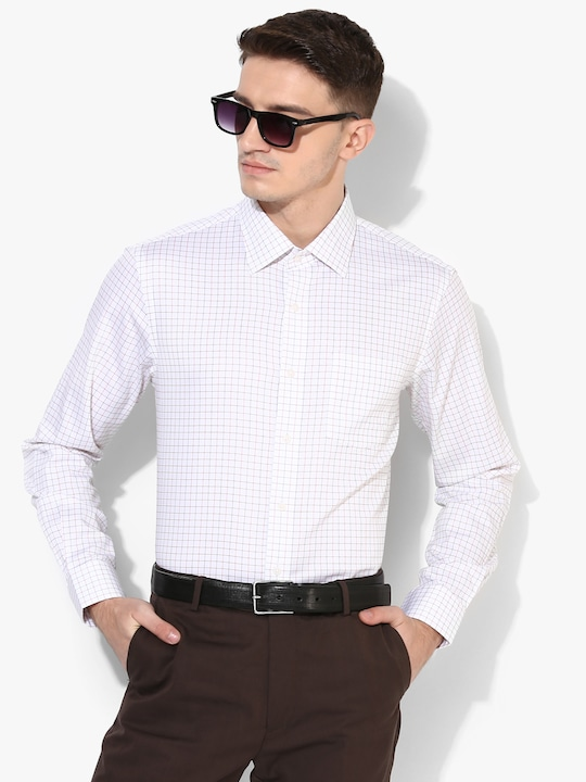 Off White Checked Regular Fit Formal Shirt