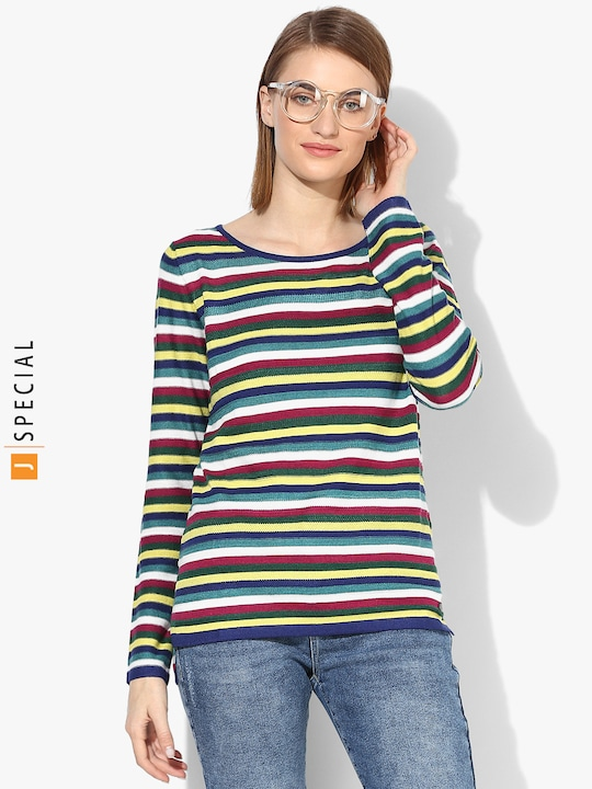 Multicoloured Striped Round Neck Sweater