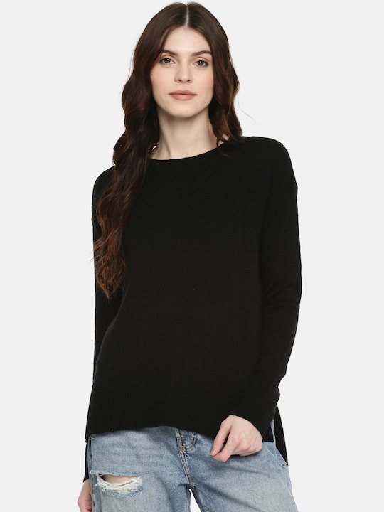 Black Solid Slim Fit V Neck Sweater