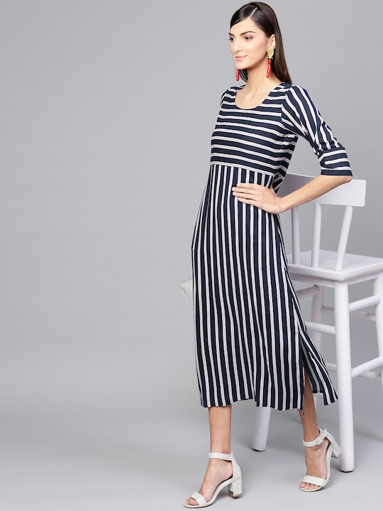 Women Navy Blue & White Striped A-Line Dress