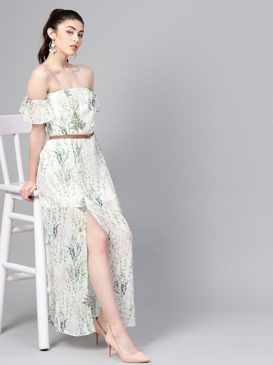 Women Off-White & Green Printed Maxi Dress