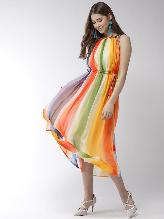 Women Multicoloured Striped A-Line Dress
