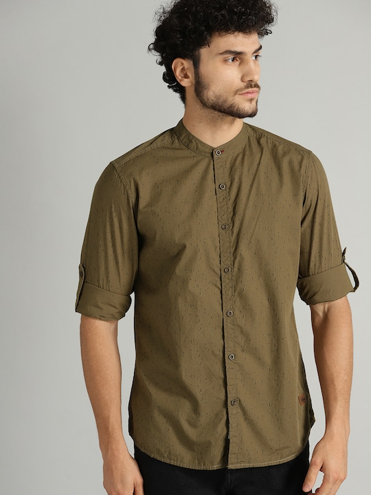 Men Olive Green & Black Regular Fit Printed Cotton Casual Shirt thumbnail