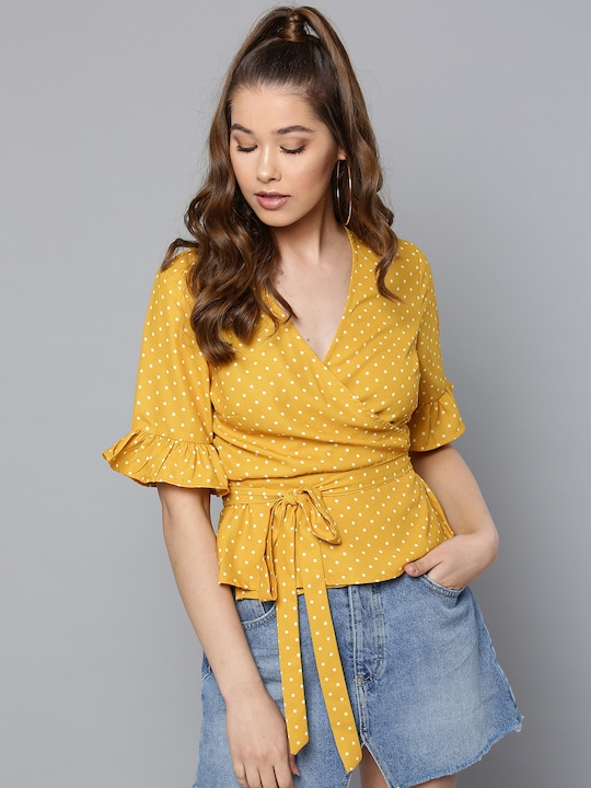 Women Mustard Yellow Polka Dot Print Wrap Top