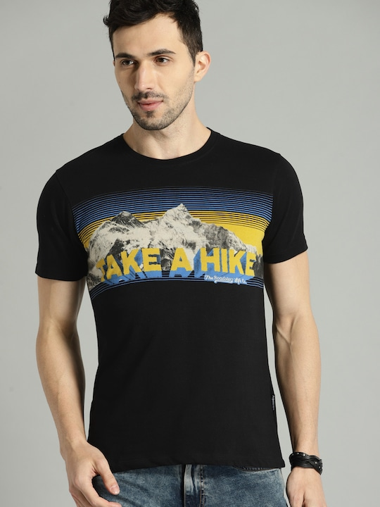 Men Black Printed Round Neck T-shirt thumbnail