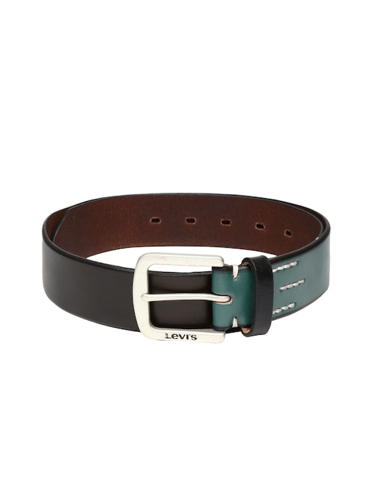 Levi's Men Black & Green Leather Belt