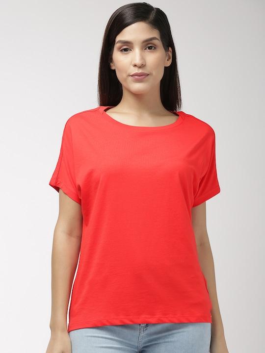 Women Red Solid Round Neck T-shirt