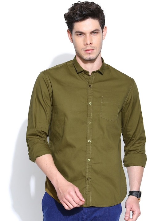 John Players Olive Green Trim Fit Casual Shirt