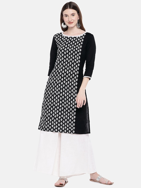 Women Black Printed Straight Kurta thumbnail