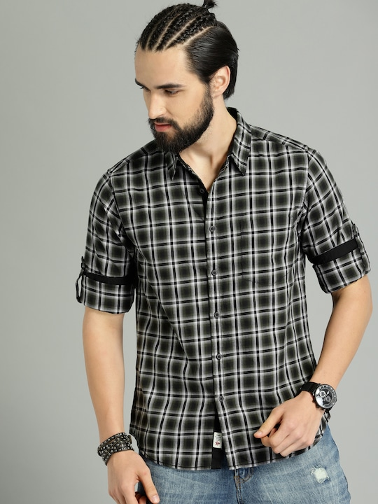 Men Olive Green & Black Regular Fit Checked Casual Shirt thumbnail