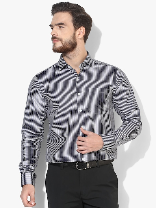 Black Striped Formal Shirt