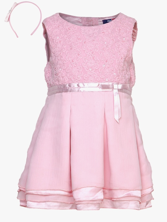 Pink Party Dress With Hair Band