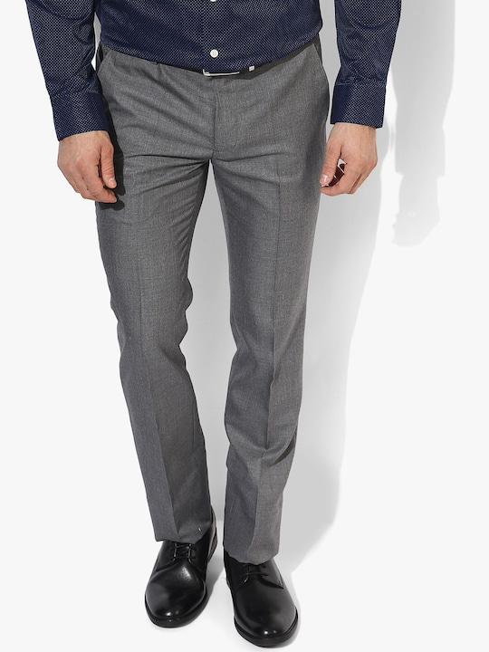 Grey Solid Slim Fit Formal Trouser