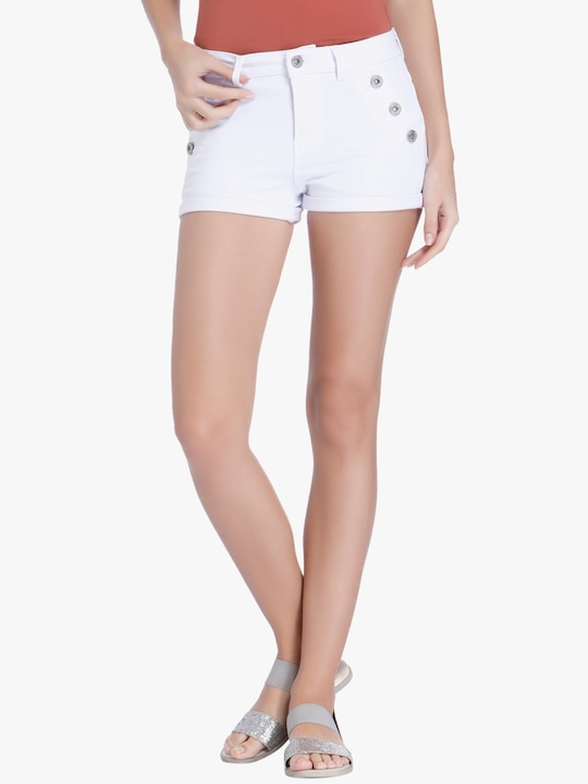 White Solid Shorts