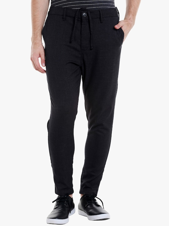 Dark Grey Solid Regular Fit Trouser