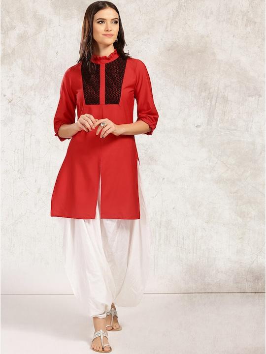 Red Solid Kurta Pyjama