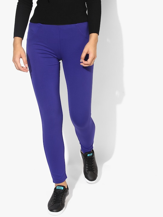 Blue Solid Jeggings