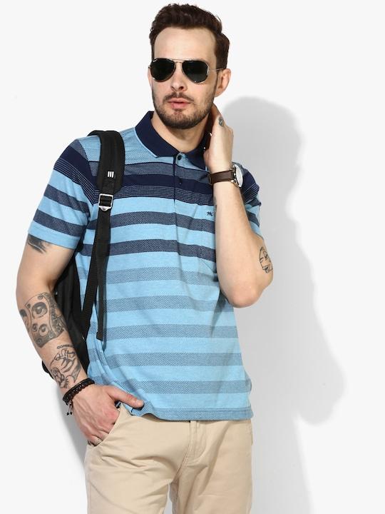 Aqua Blue Striped Regular Polo T-Shirt