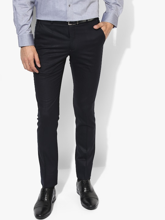 Navy Blue Slim Fit Formal Trouser