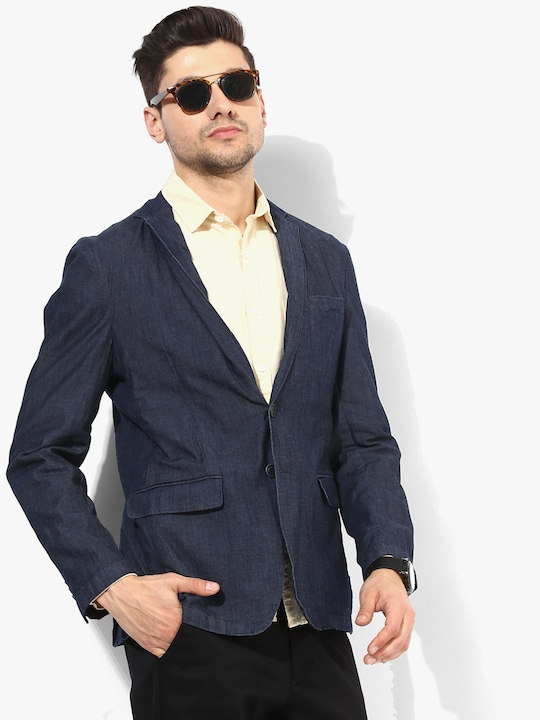 Light Blue Solid Blazer