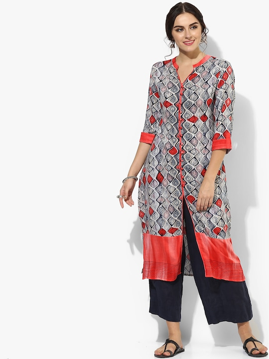 Steel Grey Printed Modal Kurta